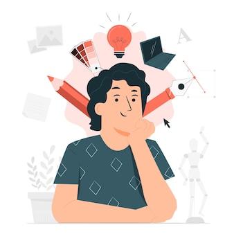 Ilustração do conceito de design thinking
