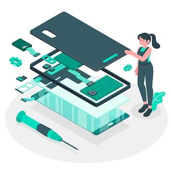 Ilustração do conceito de desmontagem do produto