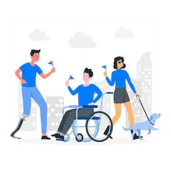 Ilustração do conceito de dia para deficientes físicos
