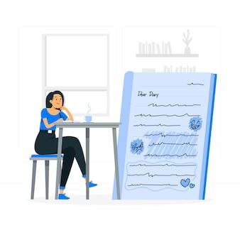 Ilustração do conceito de diário