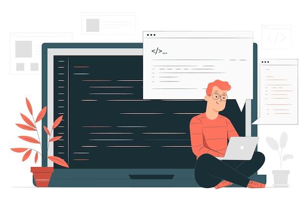 Ilustração do conceito de digitação de código
