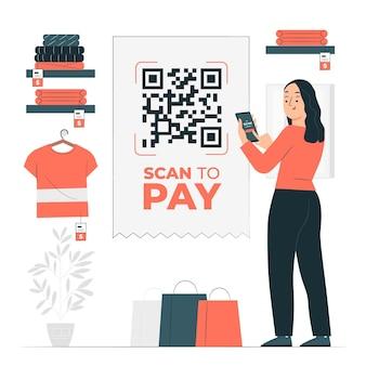 Ilustração do conceito de digitalização para pagar