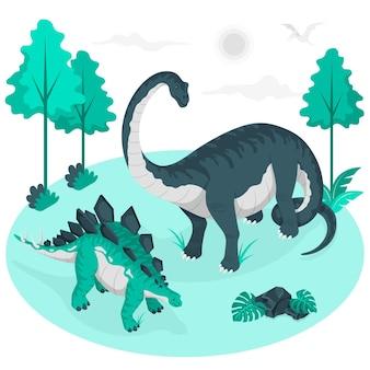 Ilustração do conceito de dinossauros