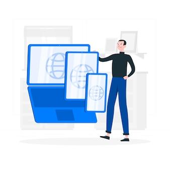 Ilustração do conceito de dispositivos da web