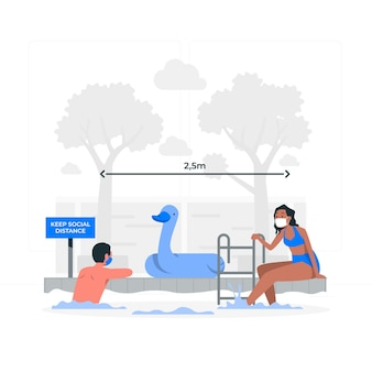 Ilustração do conceito de distância social na piscina