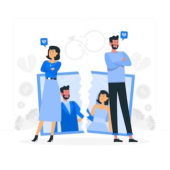 Ilustração do conceito de divórcio