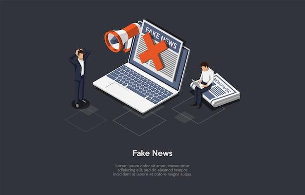 Ilustração do conceito de divulgação de notícias falsas. composição isométrica do vetor, estilo dos desenhos animados 3d. fundo escuro, texto. laptop com informações na tela, jornal, dois personagens, alto-falante, cruz vermelha.