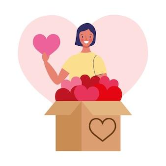 Ilustração do conceito de doação de desenho animado de menina com caixa de corações