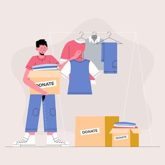 Ilustração do conceito de doação de roupas desenhadas