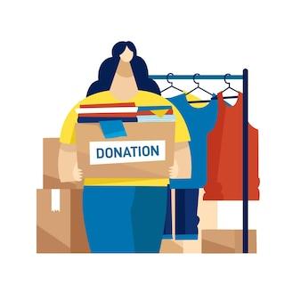 Ilustração do conceito de doação de roupas simples
