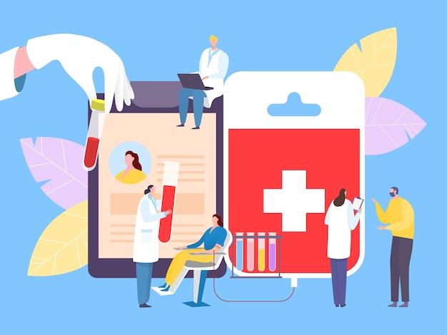 Ilustração do conceito de doador de caridade de sangue