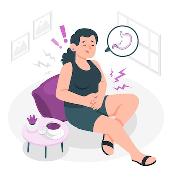 Ilustração do conceito de dor de estômago