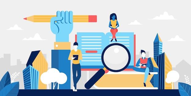 Ilustração do conceito de educação em universidade, escola ou curso