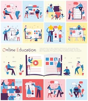 Ilustração do conceito de educação online, treinamento e workshops