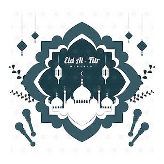 Ilustração do conceito de eid al fitr mubarak