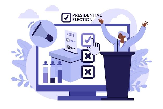 Ilustração do conceito de eleições presidenciais dos eua em 2020