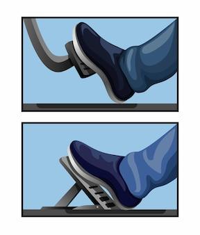 Ilustração do conceito de elemento mecânico automotivo símbolo de comparação de modelo de carro a pedal de gás