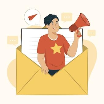 Ilustração do conceito de email abre a caixa de correio