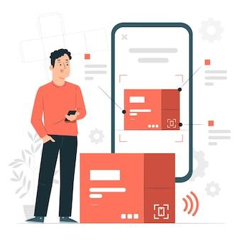 Ilustração do conceito de embalagem digital