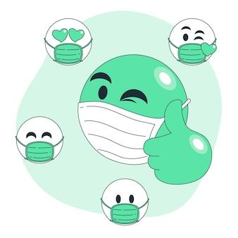 Ilustração do conceito de emoji de máscara facial