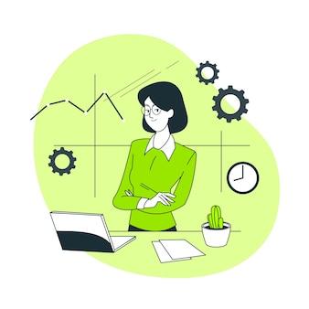 Ilustração do conceito de empresária