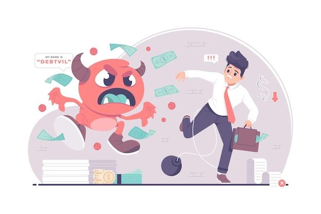 Ilustração do conceito de empresários perseguidos por monstros da dívida