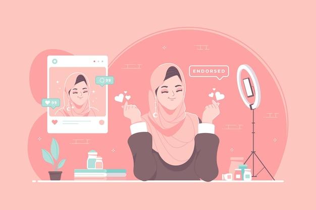 Ilustração do conceito de endosso de mídia social de promoção paga