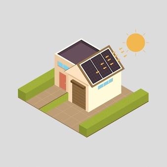Ilustração do conceito de energia solar com casa.