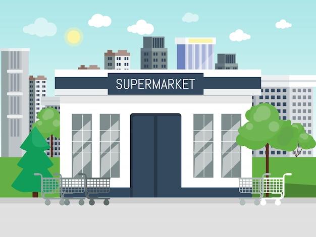 Ilustração do conceito de entrada de construção de supermercado.