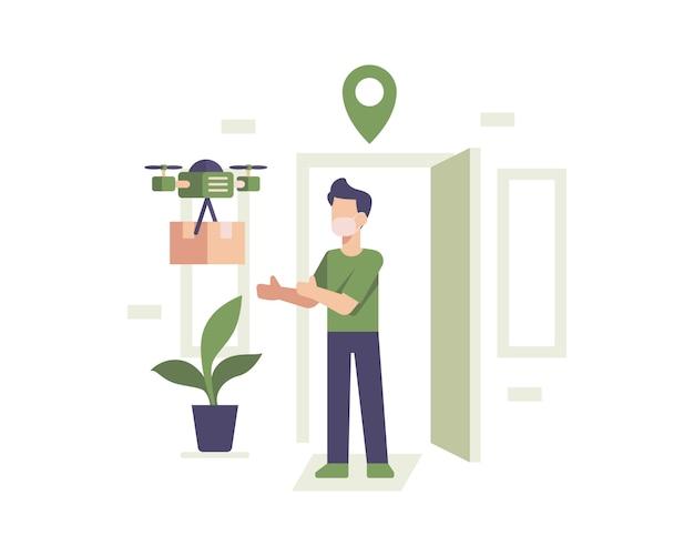 Ilustração do conceito de entrega de drone