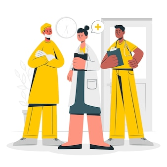Ilustração do conceito de equipe de profissionais de saúde