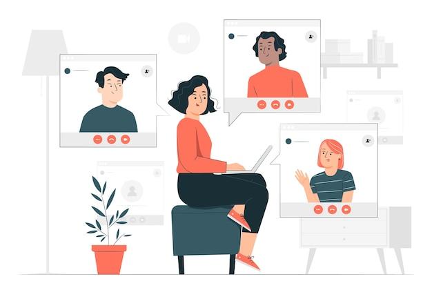 Ilustração do conceito de equipe remota
