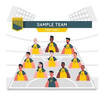 Ilustração do conceito de escalação de equipe