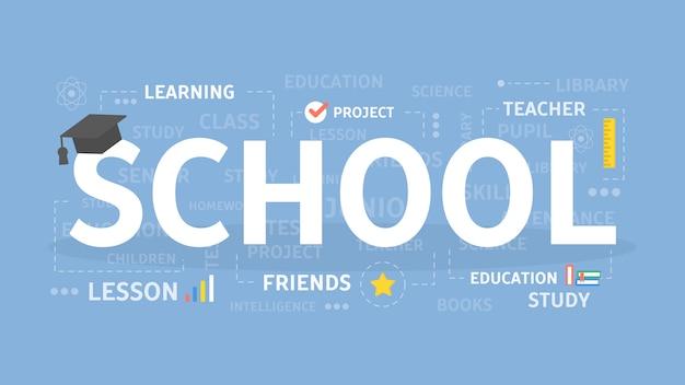 Ilustração do conceito de escola.