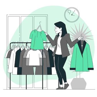 Ilustração do conceito de escolha de roupas