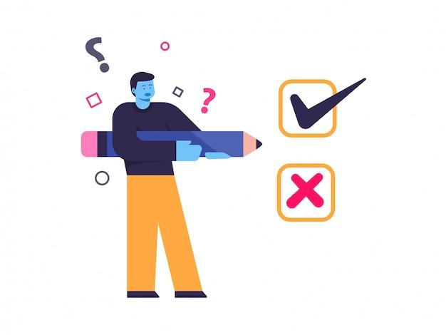 Ilustração do conceito de escolha