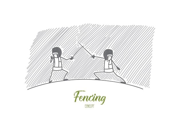Ilustração do conceito de esgrima