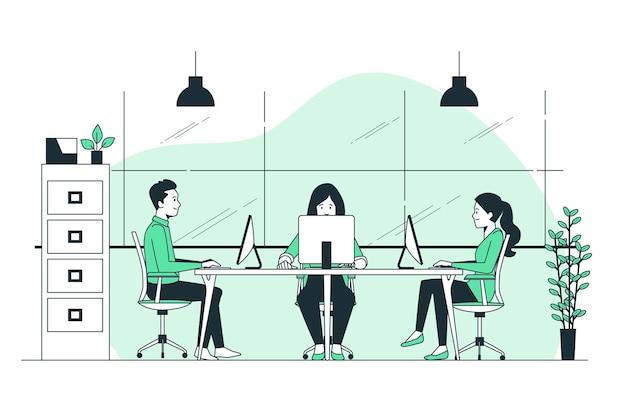 Ilustração do conceito de espaço de trabalho compartilhado
