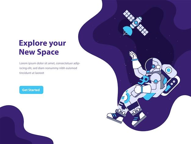 Ilustração do conceito de espaço e astronauta para página de destino