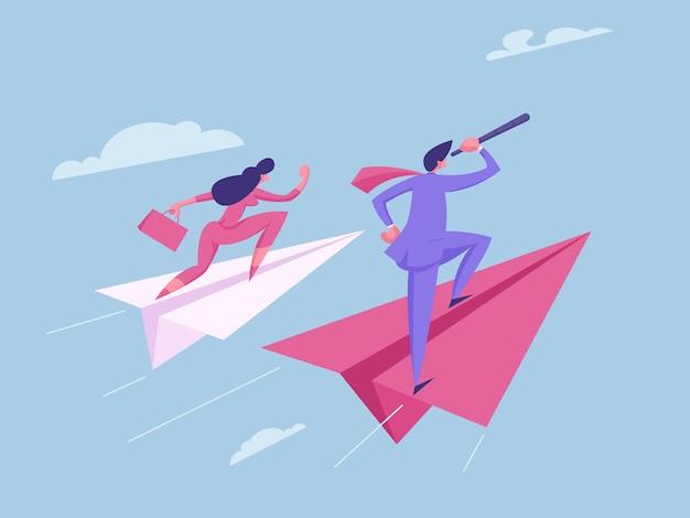 Ilustração do conceito de espírito de equipe de estratégia futura