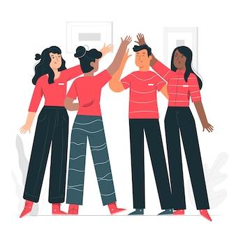 Ilustração do conceito de espírito de equipe