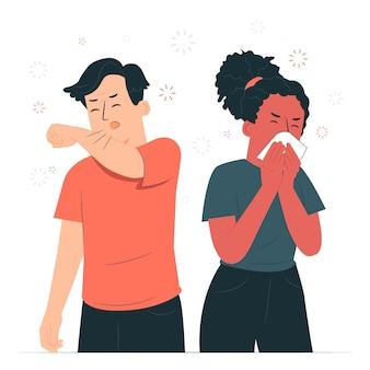 Ilustração do conceito de espirros