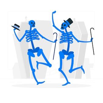 Ilustração do conceito de esqueletos dançando