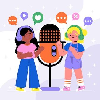 Ilustração do conceito de estação de rádio podcast