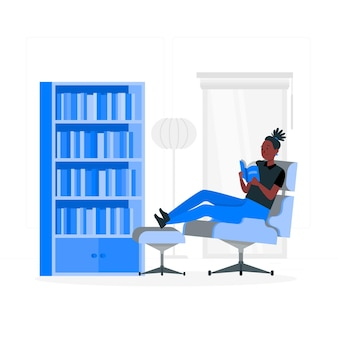 Ilustração do conceito de estantes de livros domésticos
