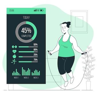 Ilustração do conceito de estatísticas de fitness