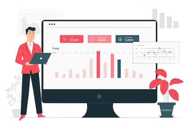 Ilustração do conceito de estatísticas do site