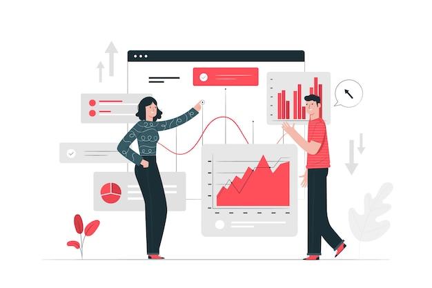 Ilustração do conceito de estatísticas