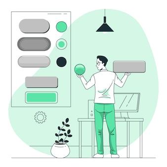 Ilustração do conceito de estilo de botão