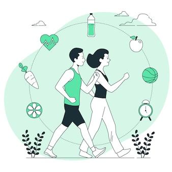 Ilustração do conceito de estilo de vida saudável
